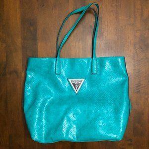 Guess Claudia Embossed Aqua Leather Tote